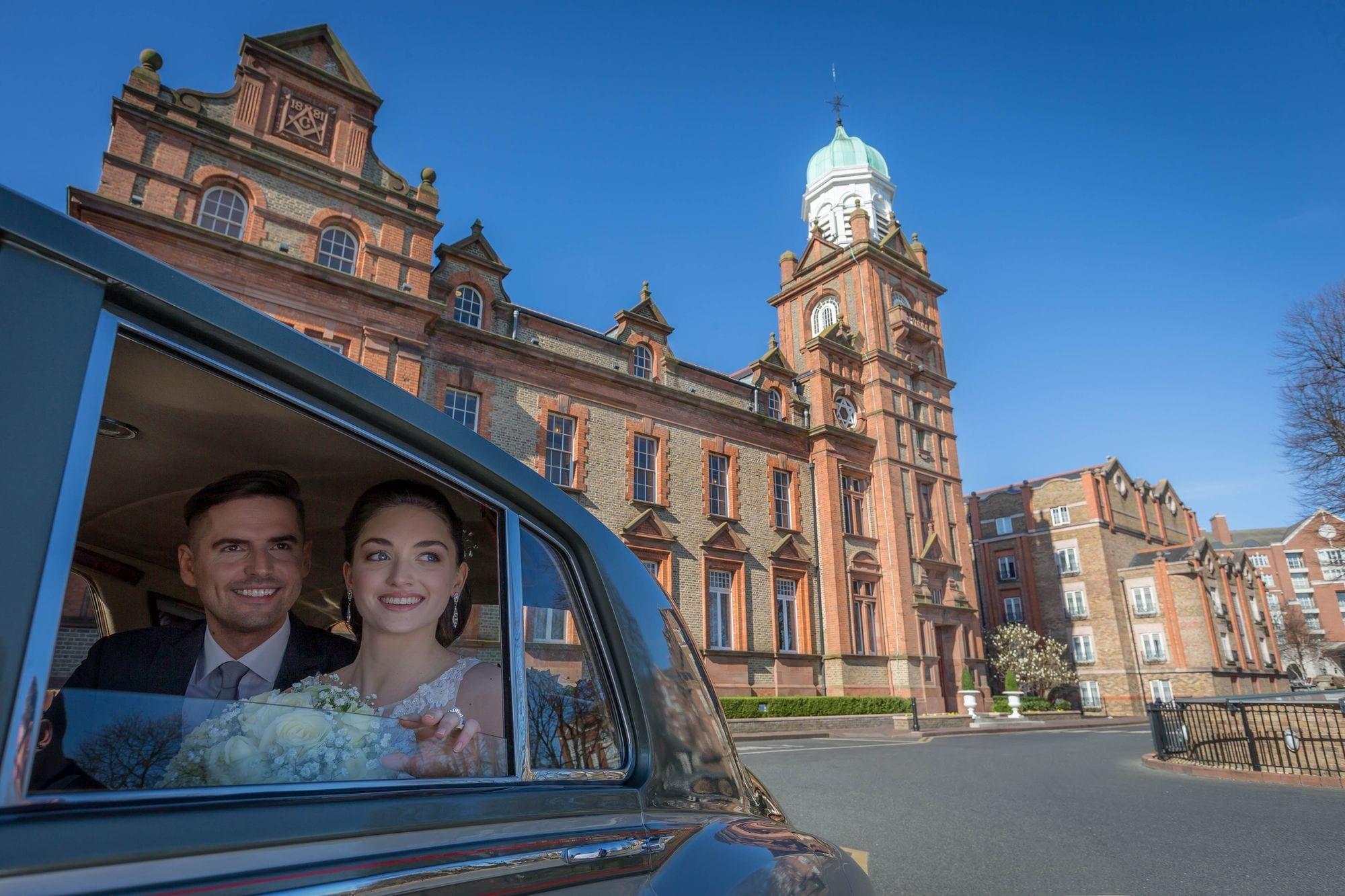 Bride-Groom-Car-Thomas-Prior-Hall
