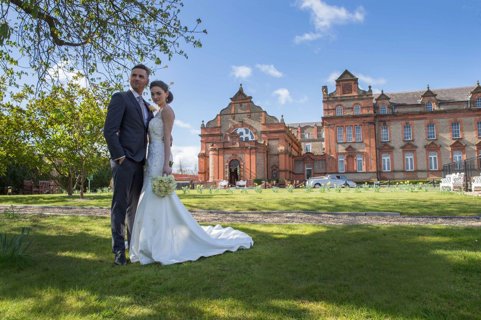 Bride-Groom-Outside-Thomas-Prior-Hall