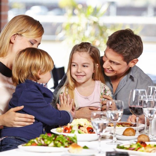 Happy family having salads at Clayton Hotel Ballsbridge